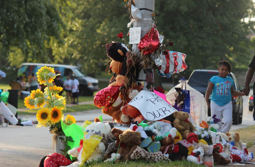 A memorial for Michael Brown in Ferguson, Missouri (photo via Wikimedia Commons)