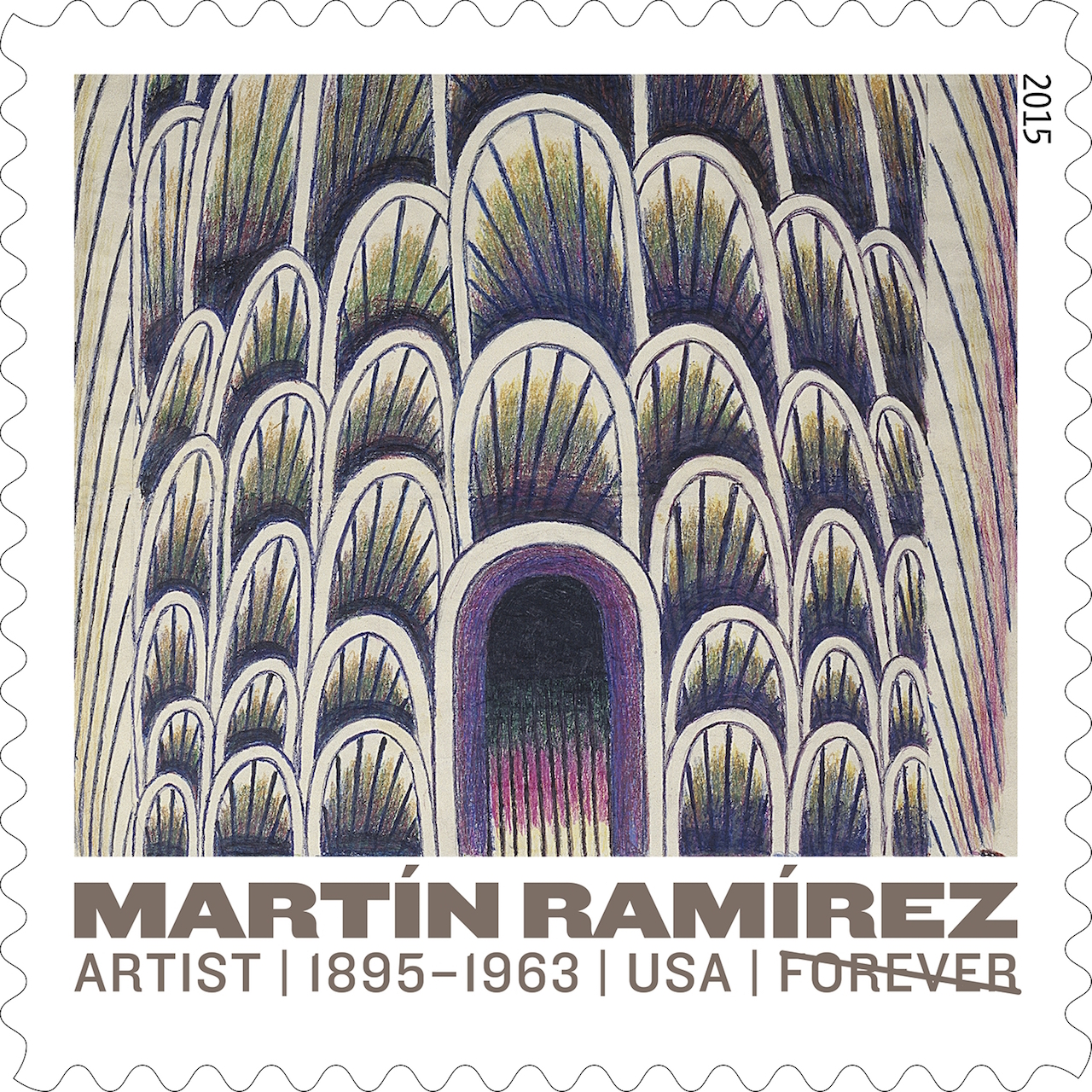 """Martín Ramírez,""""Untitled (Tunnel with Cars and Buses)"""" (1954), reproduced as one of five new 'Forever' Stamps by the United States Postal Service (© 2015 USPS)"""