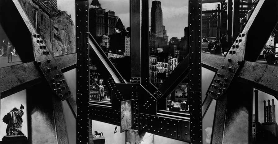 "Berenice Abbott, ""Photomontage, New York City"" (1932), gelatin silver print. Berenice Abbott Archive, Ryerson Image Centre © Ronald Kurtz, administered by Commerce Graphics Ltd. Inc."