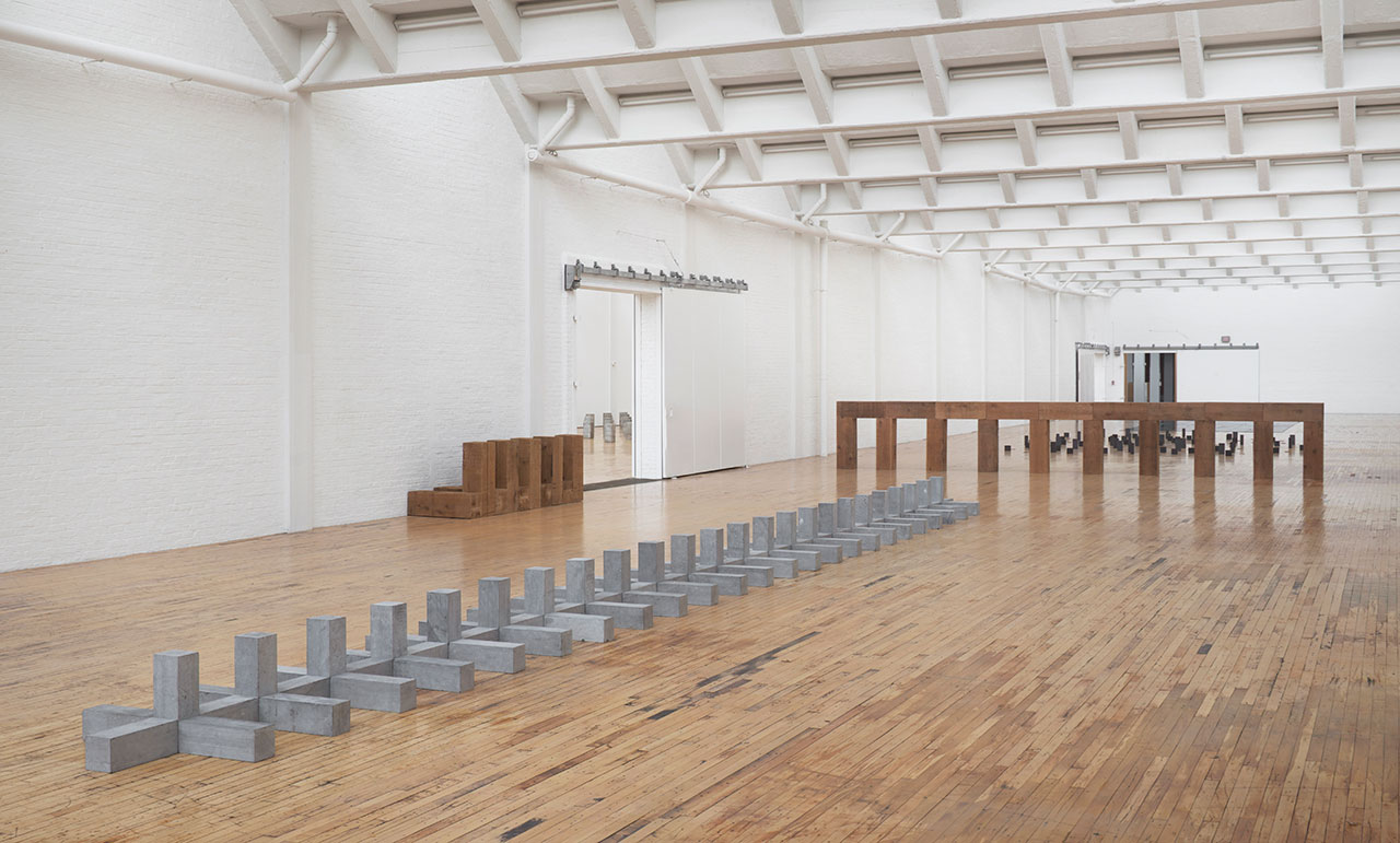 """Installation view, 'Carl Andre: Sculpture as Place, 1958–2010,' showing """"Breda"""" (1986) in the foreground"""