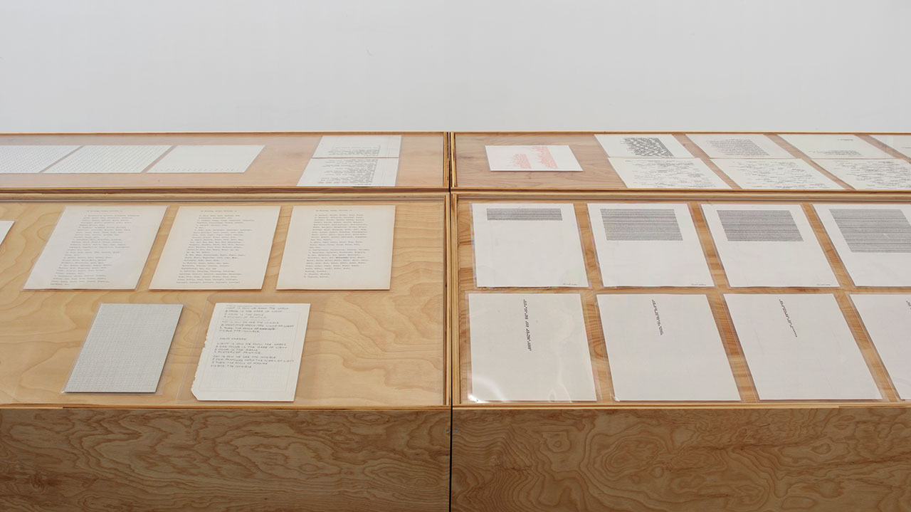 Installation view, 'Carl Andre: Sculpture as Place, 1958–2010,' showing some of Andre's Concrete poetry (click to enlarge)