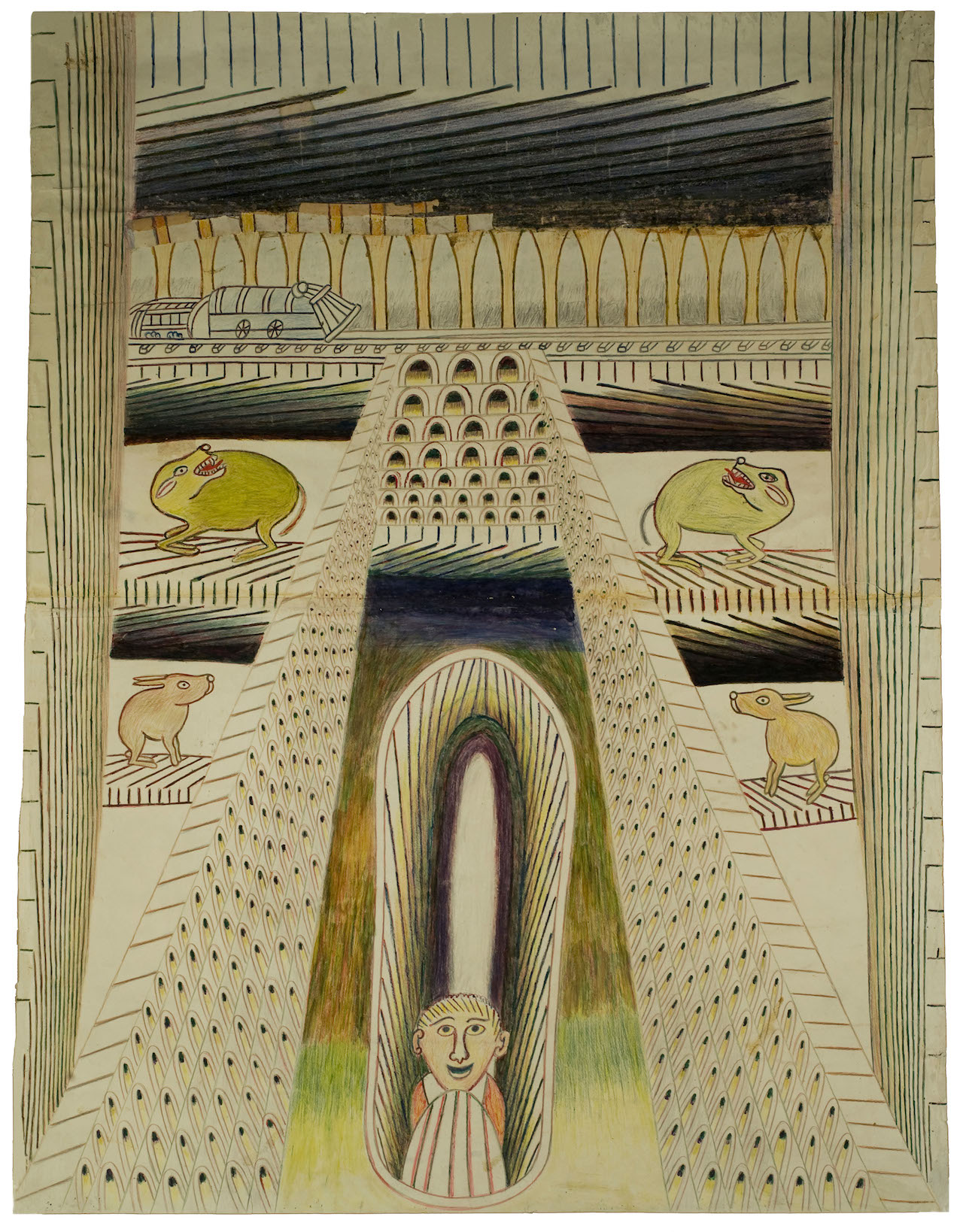 Untitled (Courtyard with Man and Animals) c. 1950-55 Graphite, tempera and crayon on paper 47 1/2 x 36 in; 120.7 x 91.4 cm