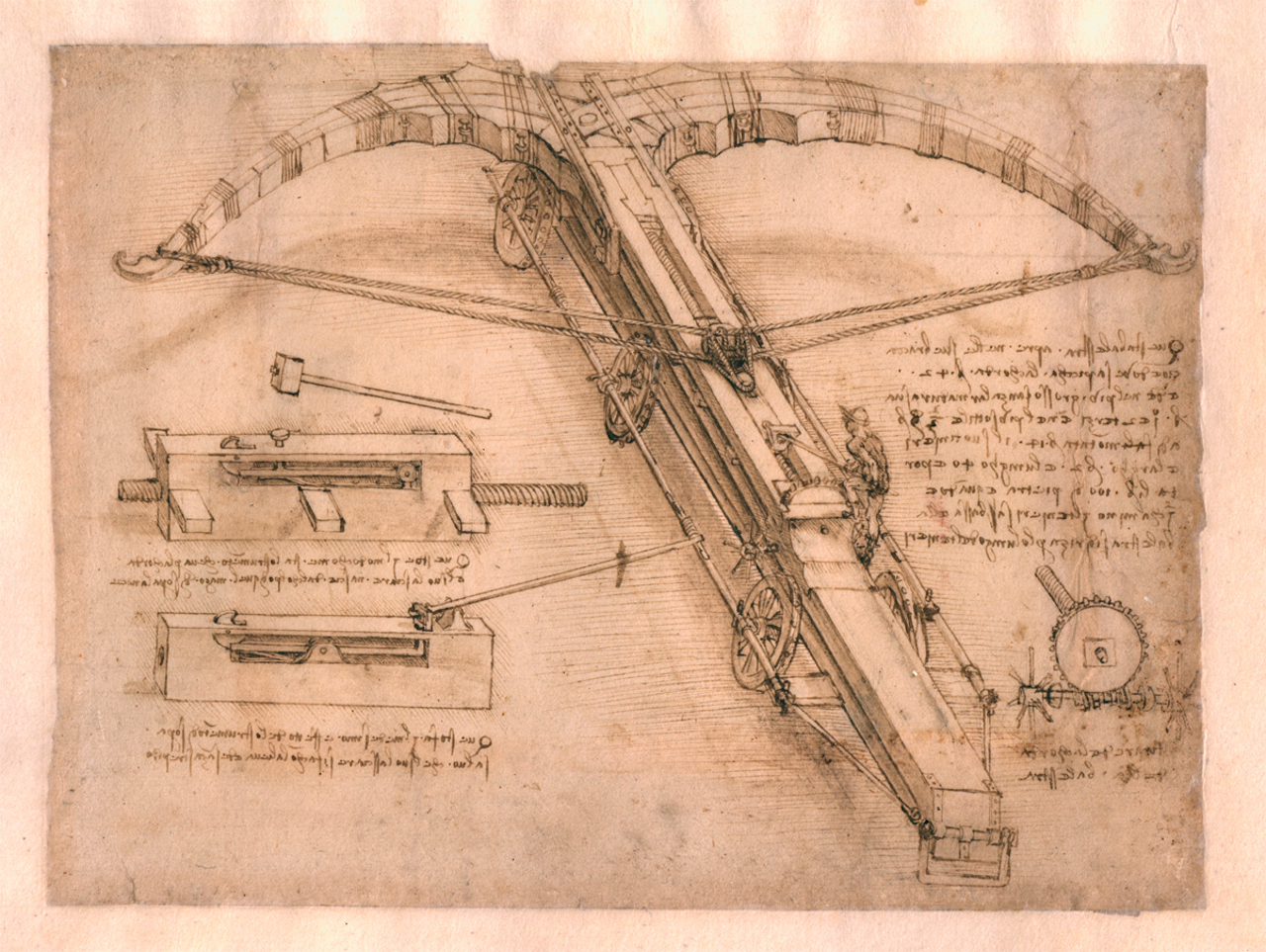 Drawing of a giant crossbow by Leonardo da Vinci (Circa 1485–92)