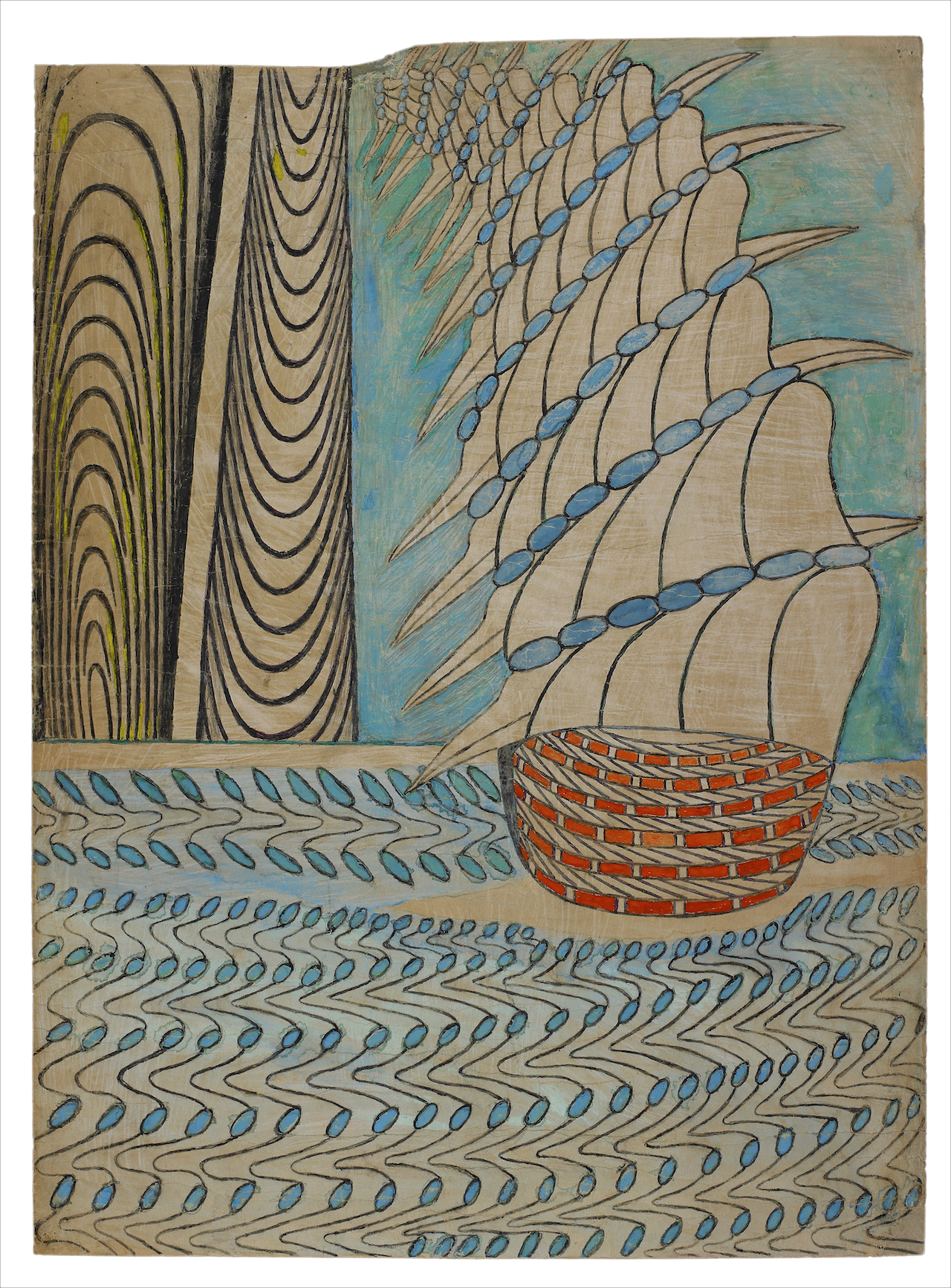 Untitled (Galleon on Water) c. 1960-63 Gouache, colored pencil and graphite on pieced paper 33 x 24 in; 84 x 61 cm