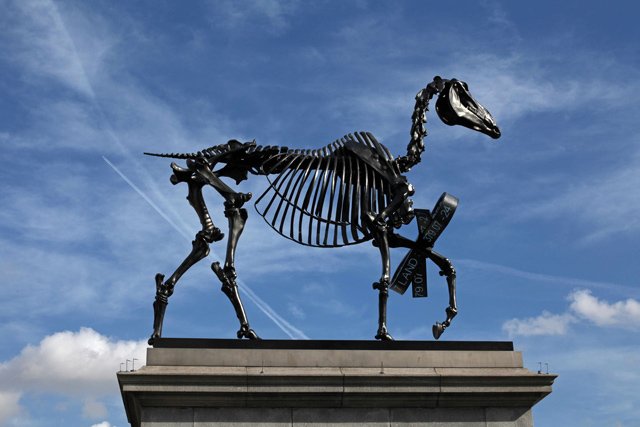 "Hans Haacke, ""Gift Horse."" Commissioned for the Mayor of London's Fourth Plinth Program (Photo © Gautier Deblonde; Courtesy Bolton & Quinn Ltd)"