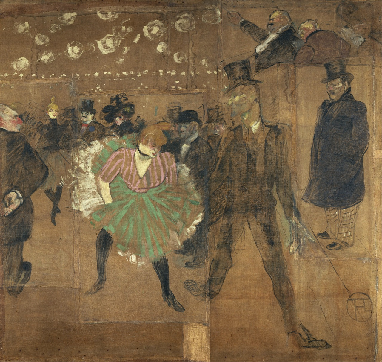 """Henri de Toulouse-Lautrec, """"Panneaux pour la baraque de la Goulue, à la Foire du Trône à Paris"""" (Image via Wikimedia)"""
