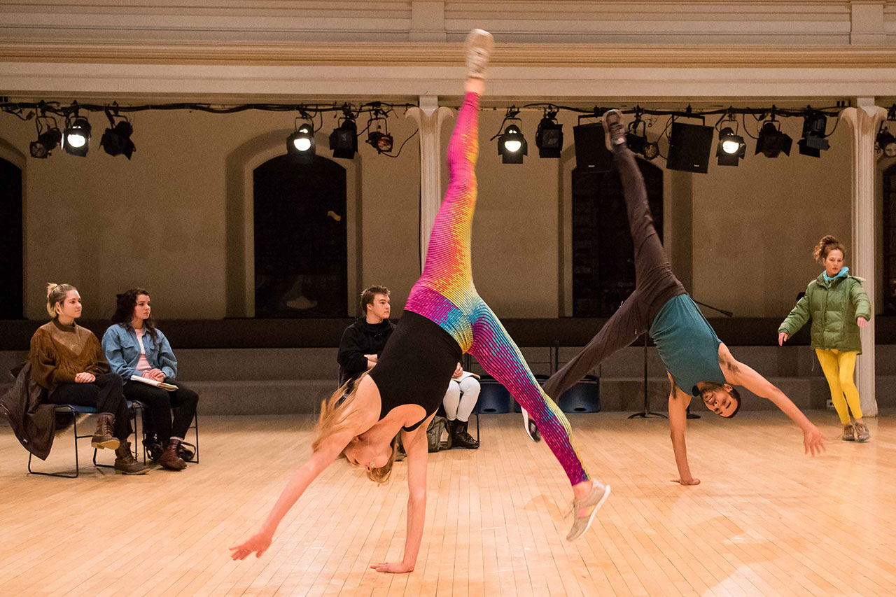 Sara Mearns and Rashaun Mitchell performing in a Platform 2015 Dance Dialogue at Danspace
