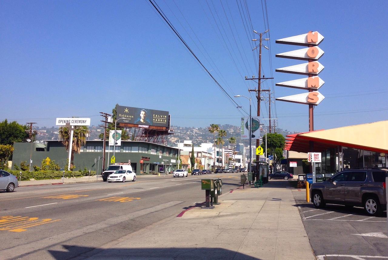 The view West down La Cienega.