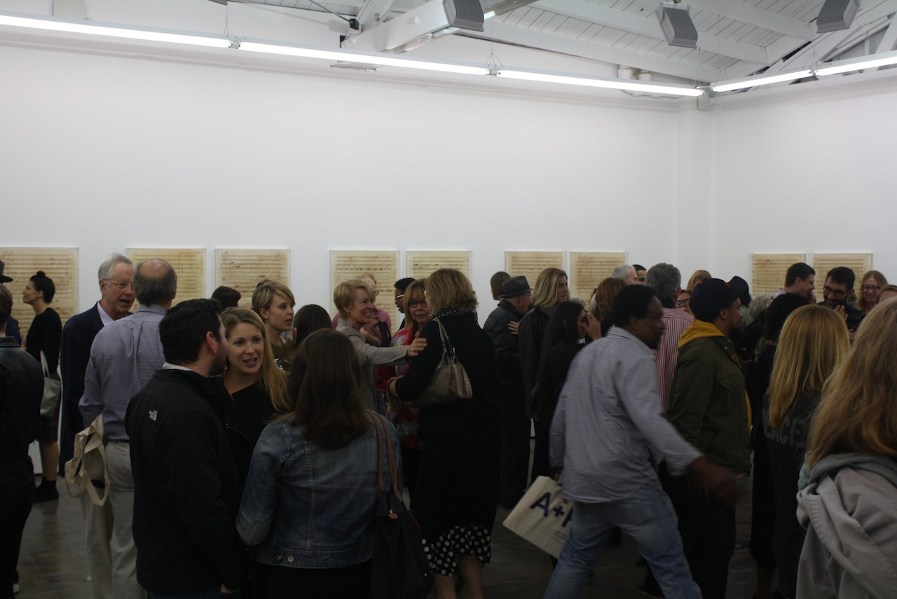"""The Opening of """"Charles Gaines: Librettos: Manuel de Falla / Stokely Carmichael"""" at Art + Practice (all photos by the author for Hyperallergic)"""