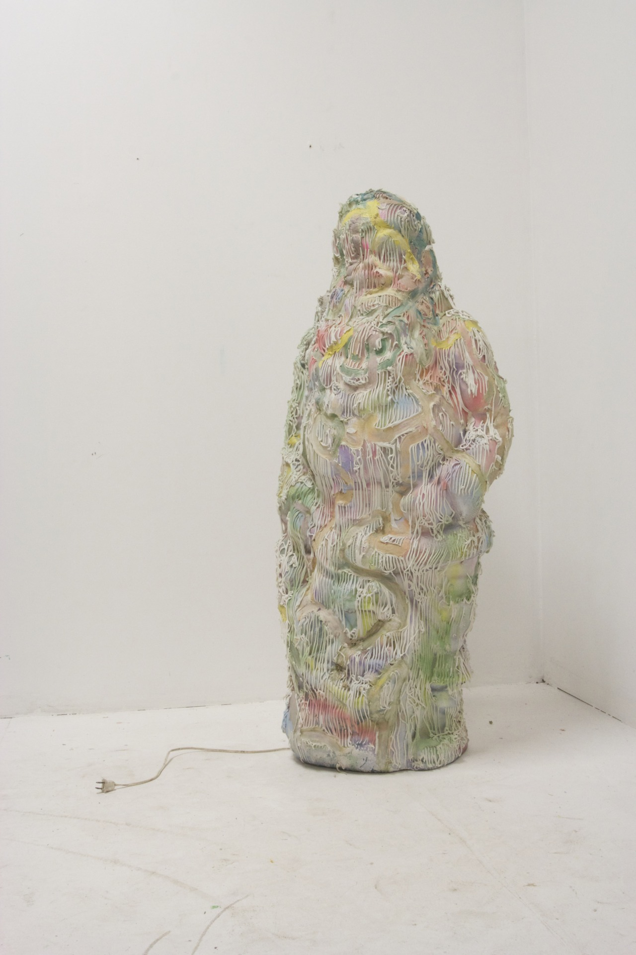 Santa, a sculptural work by Rajewski employing one of his recent material touchstones, caulk