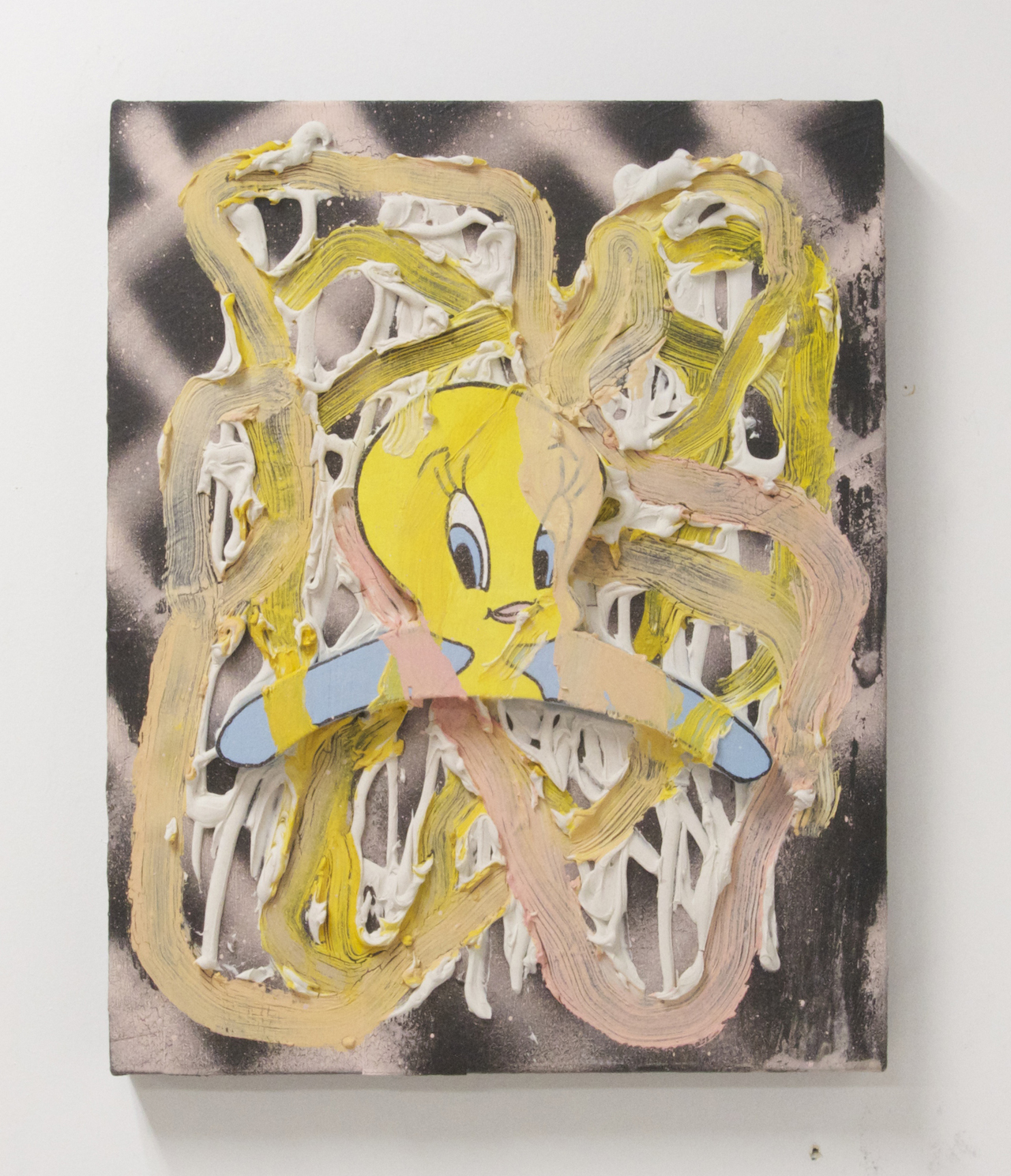 Rajewski's humor and perverse attraction/repulsion with popular culture come through in Tweety Bird, Acrylic, wood, oil, spray paint and caulk on canvas, 2014