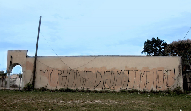 "Jillian Mayer, ""My phone died meet me here"" (2015)."