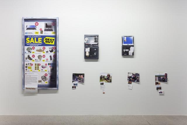 """Matt Goerzen """"Virtual Solidarity Sale"""" Installation, 2015, 60"""" × 96"""", Mixed Media."""