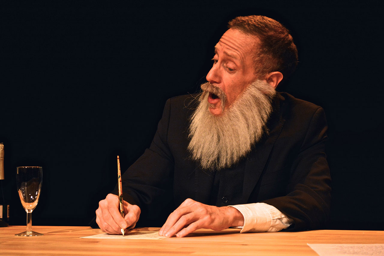 """Jonathan Kline as Karl Marx in """"Letters to Engels,"""" part of 'Money Lab' (click to enlarge)"""