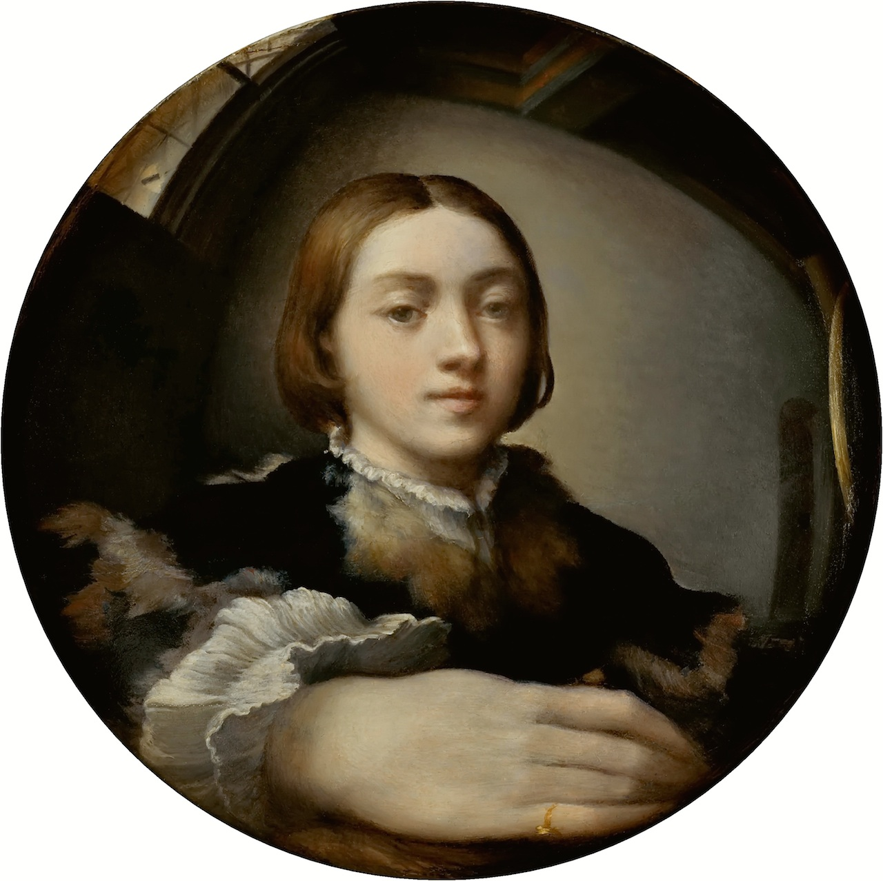 Parmagiannino, Self-Portrait in a Convex Mirror, 1524,  Oil on convex wood panel, 9.6 inches in diameter (LINK TO WIKIMEDIA)