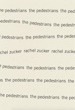 Rachel Zucker_The Pedestrians