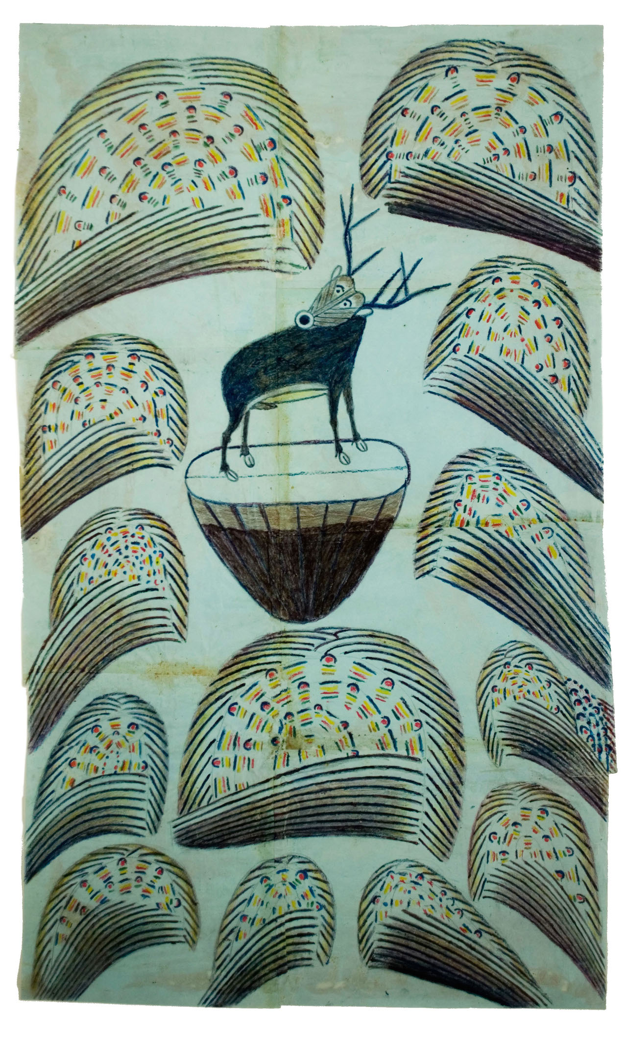 Untitled (Stag on Mound with Fireworks) c. 1952-53 Graphite, tempera and crayon on paper 32 x 19 1/2 in; 81.3 x 49.3 cm