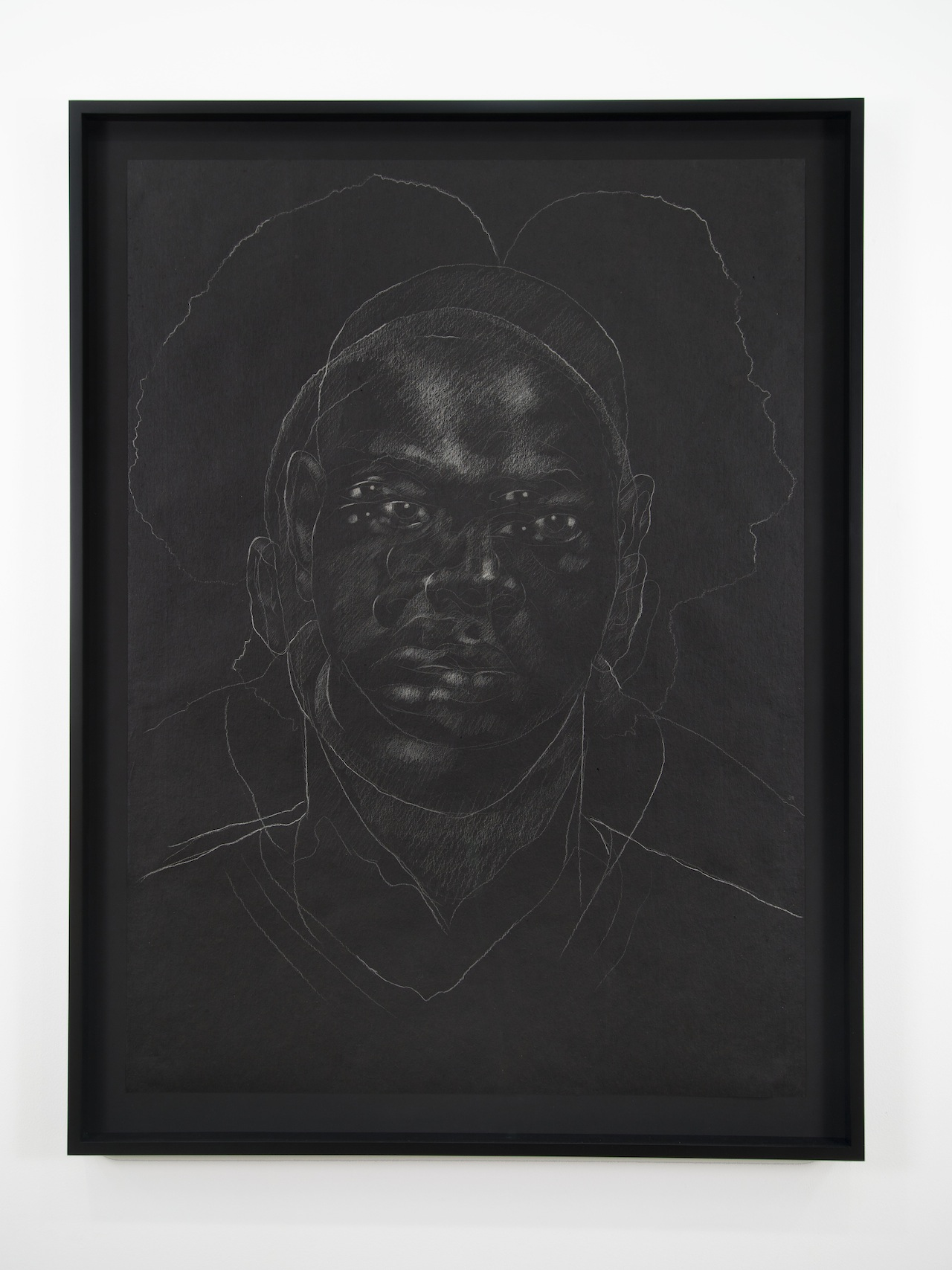 "Titus Kaphar, ""The Jerome Project (Asphalt and Chalk) II"" (2014), chalk on asphalt paper, 49 x 35 1/2 inches, ©Titus Kaphar.  (image courtesy of the artist and Jack Shainman Gallery, New York)"
