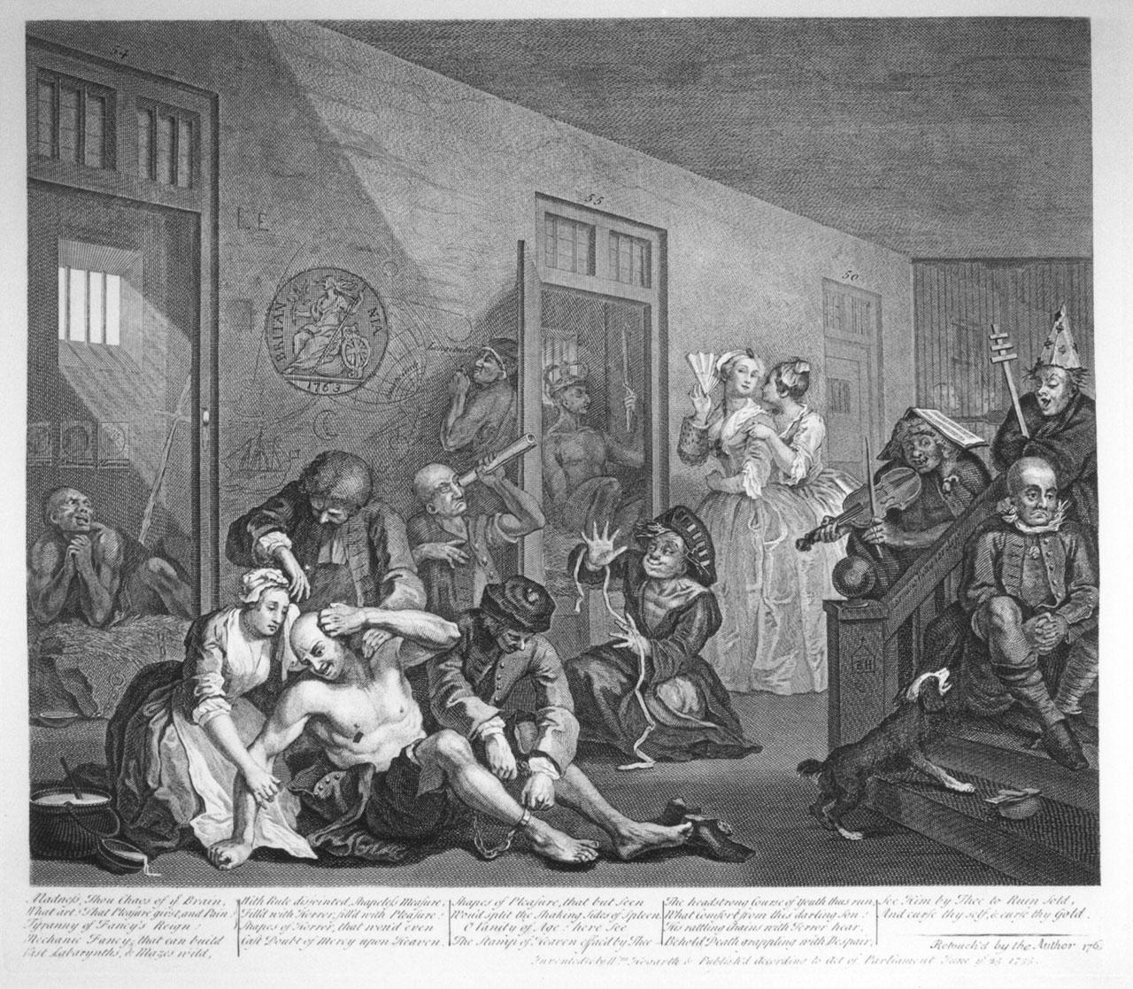 The eighth image in the engraved version of William Hogarth's 'A Rake's Progress,' showing Tom Rakewell at Bethlehem Hospital, aka Bedlam (1735) (via Wikimedia Commons)