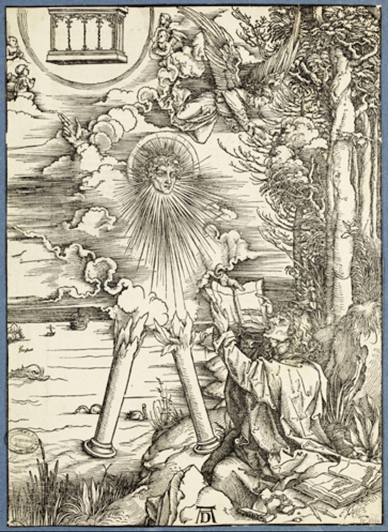 """Albrecht Dürer, """"Saint-Jean dévorant le livre de Vie"""" (St. John devouring the Book of Life) (circa1498) Ancienne collection éditoriale: Dürer, L'Apocalypse (éd. latine) Est 3524 coll. ENSBA © Beaux-Arts Paris, Dist."""
