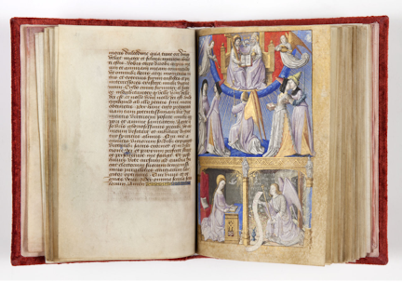 """René of Lorena """"Book of Hours"""" (15th C) with paintings by Maitre Francois. XVe siècle Parchemin, Collection Museu Gulbenkian, Lisbon, 78 folios 15 x 12 x 3 cm (click to enlarge)"""