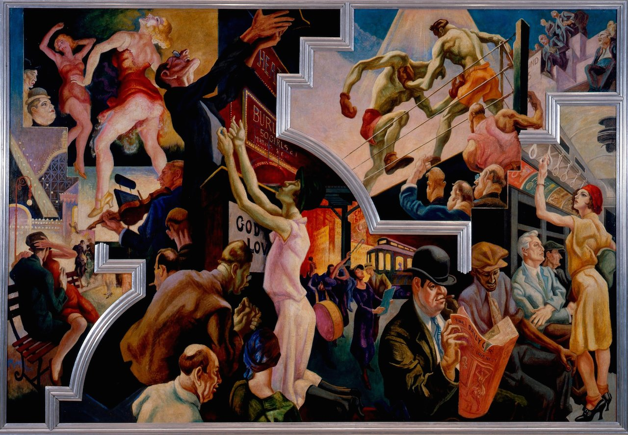 Thomas Hart Benton (American, 1889-1975) City Activities with Subway from America Today, 1930–31 Mural cycle consisting of ten panels Egg tempera with oil glazing over Permalba on a gesso ground on linen mounted to wood panels with a honeycomb interior