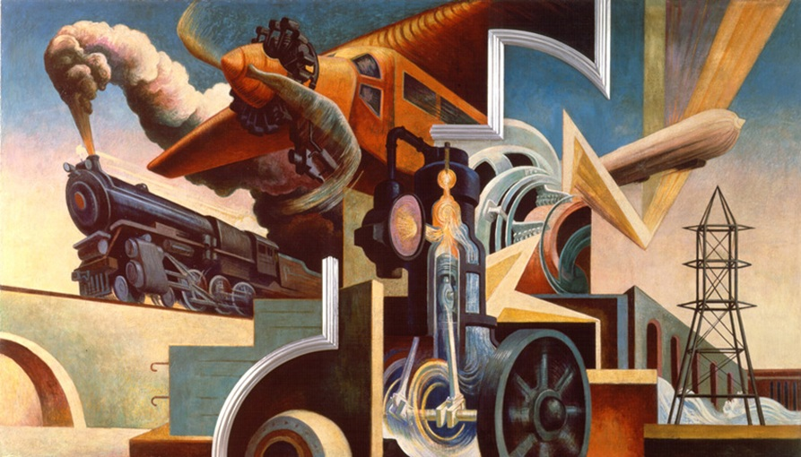 Thomas Hart Benton (American, 1889-1975) Instruments of Power from America Today, 1930–31 Mural cycle consisting of ten panels Egg tempera with oil glazing over Permalba on a gesso ground on linen mounted to wood panels with a honeycomb interior