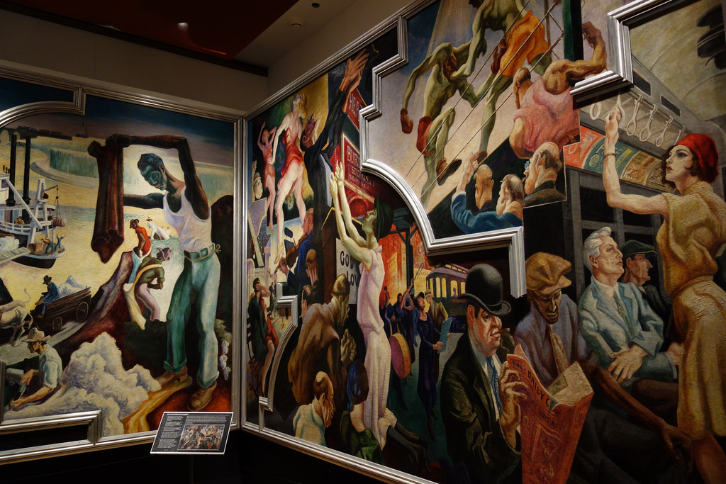 Installation view of 'Thomas Hart Benton's America Today Mural Rediscovered' at the Metropolitan Museum of Art (photo by the author for Hyperallergic)