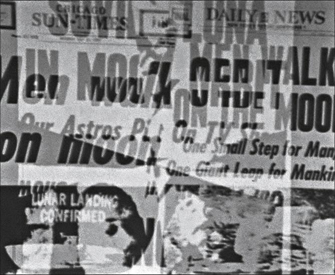 "KRIWET, ""Apollovision""  (1969/2005), DVD, sound, b/w, Ed. of 10, 12 min., 50 sec (via cherryandmartin.com)"
