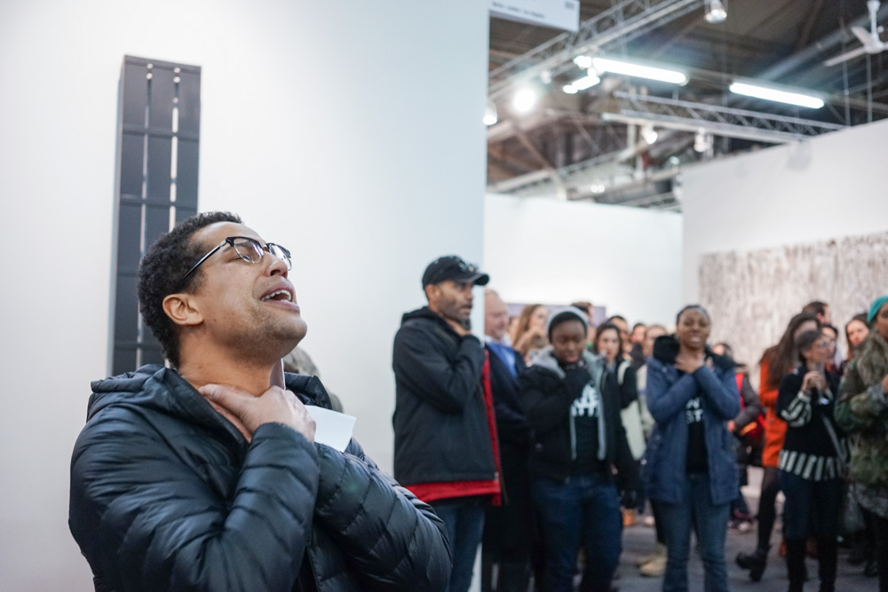The Artists For Justice NYC demonstration at the 2015 Armory Show in New York