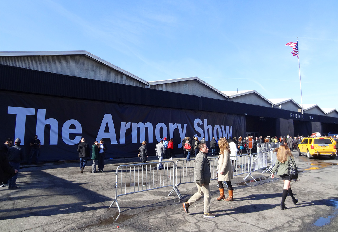 The main entrance to the Armory Show