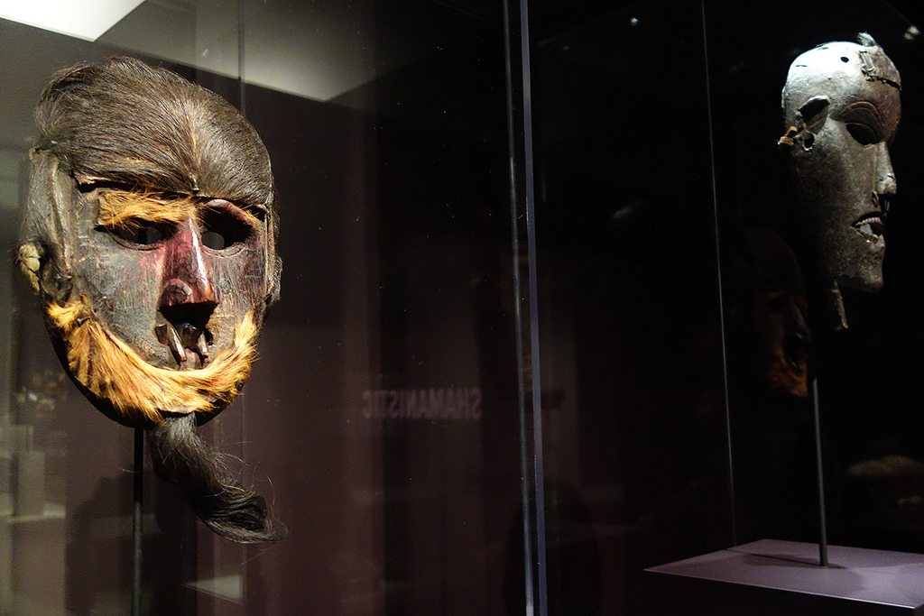 Possible shamanistic mask from Nepal (19th-20th century), wood, fur, traces of pigments