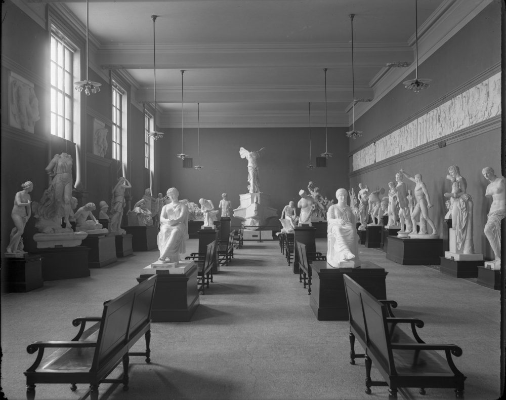 Plaster reproductions of European sculpture at the Brooklyn Museum, shown in an archive photograph shared by the museum for Museum Week's Secrets day (via Tumblr)