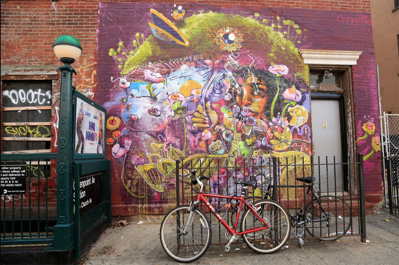 A Cern mural in Brooklyn, by Luna Park (via Luna Park's Flickrstream)