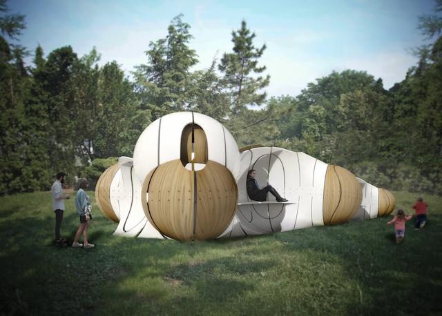"""A rendering of IK Studio's """"Torqueing Spheres"""" (via socratessculpturepark.org)"""