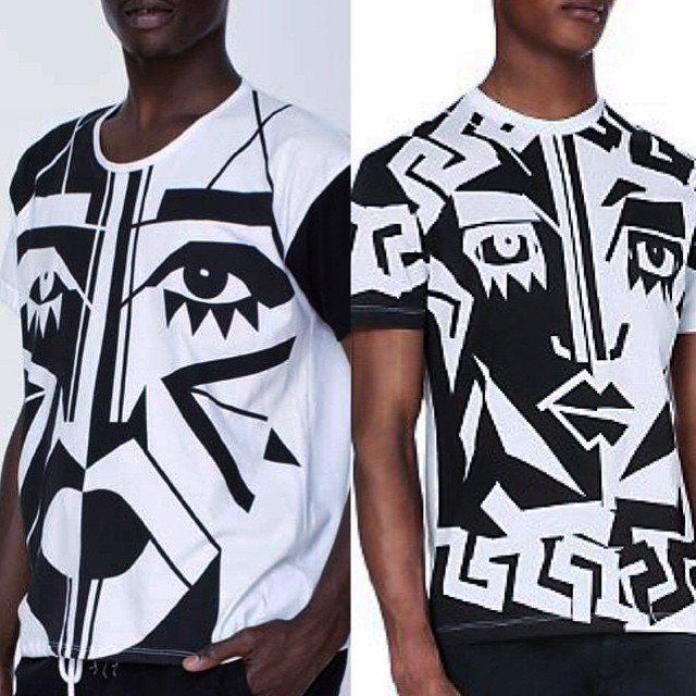 Kesh's American Apparel design (left) and Versace's shirt (right) (photo by Kesh/Instagram)
