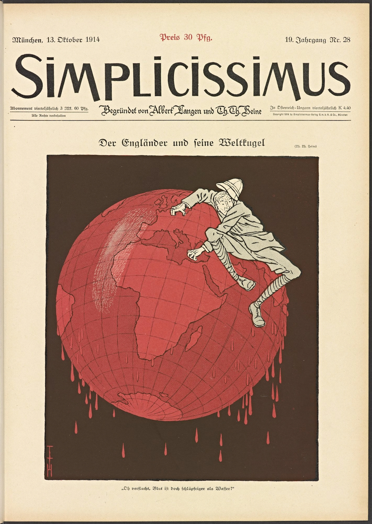 The Englishman and His Globe. Thomas Theodor Heine (1867–1948) Simplicissimus vol. 19, no. 28 (October 13, 1914): cover. The Getty Research Institute, Los Angeles (85-S1389). © 2014 Artists Rights Society (ARS), New York / VG Bild-Kunst, Bonn