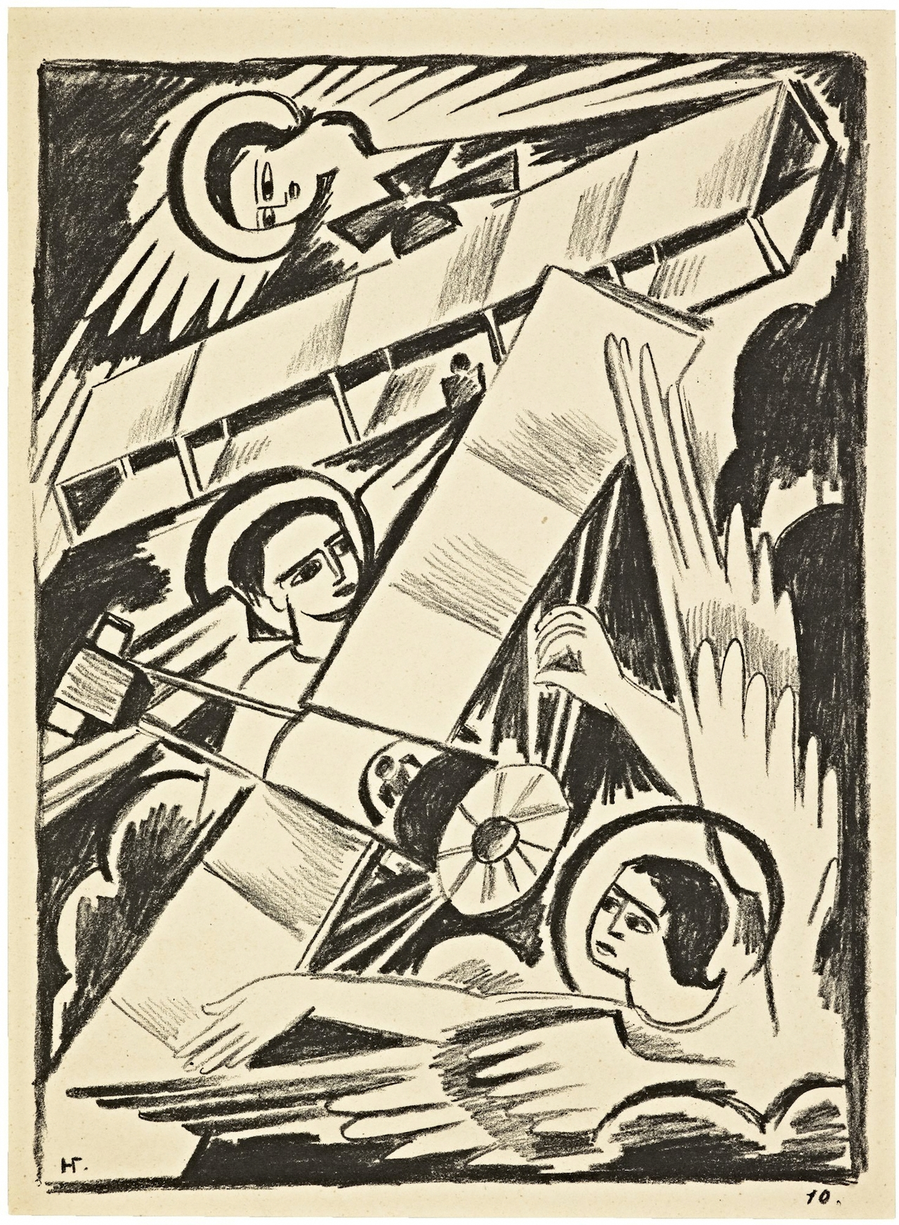 Angels and Airplanes Natalia Goncharova (Russian, 1881–1962). Lithograph. Misticheskie obrazy voiny: 14 lithografi (Mystical images of war: 14 lithographs) (Moscow, 1914), pl. 10. The Getty Research Institute, Los Angeles (88-B28354) © 2014 Artists Rights Society (ARS), New York / ADAGP, Paris