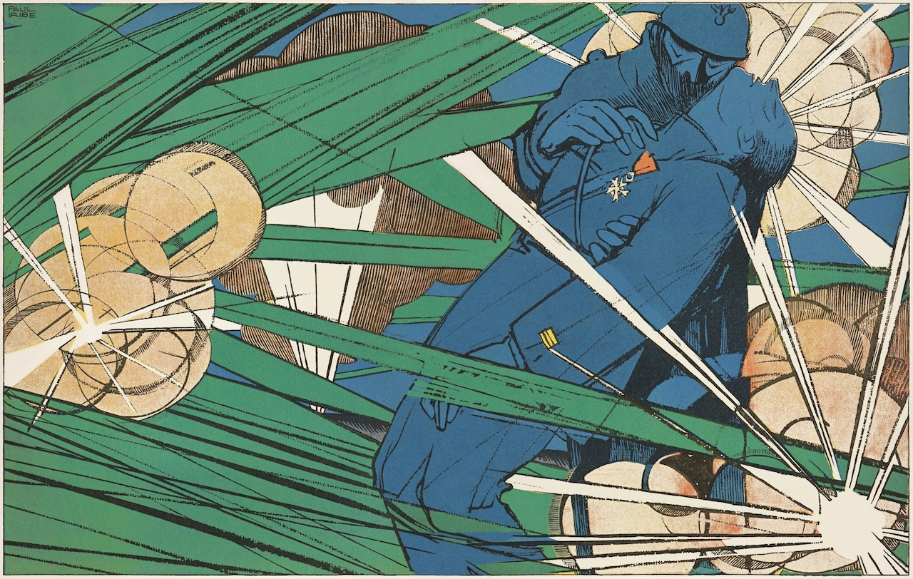 """Detail of """"I Have You My Captain. You Won't Fall."""" Paul Iribe (French, 1883–1935). À coups de baïonnette 9 (June 1917): pp. 424–25. The Getty Research Institute, Los Angeles (93-S507)"""