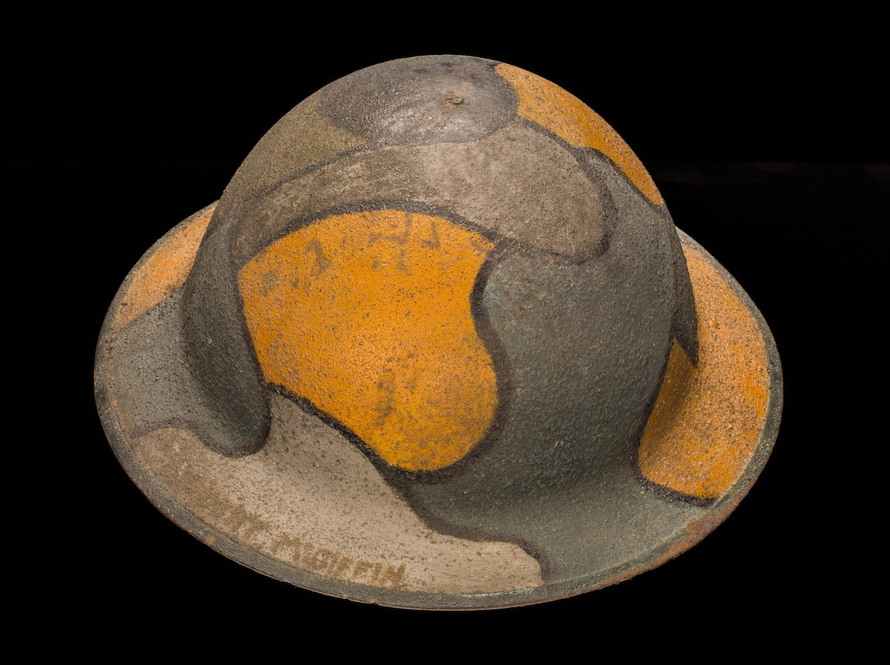 American Helmet Painted in Imitation of a German Camouflage Helmet. Ca. 1918. Robert McGiffin (American). Jane A. Kimball, Trench Art Collection