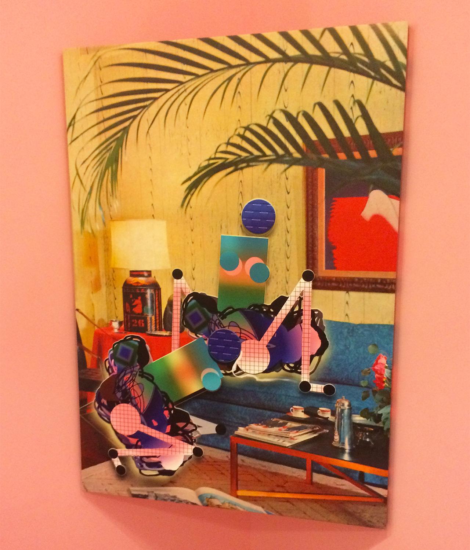 "A silkscreen on canvas work from Adriana Minoliti's installation ""Playground"" in the Galería Agustina Ferreyra booth"