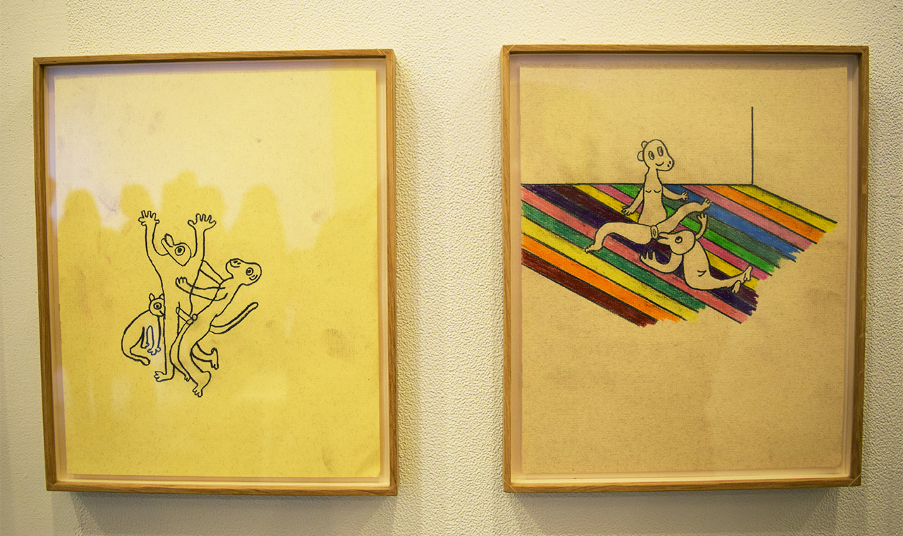 Two untitled and untitled crayon-on-paper works by Anne-Lise Coste in the NoguerasBlanchard booth
