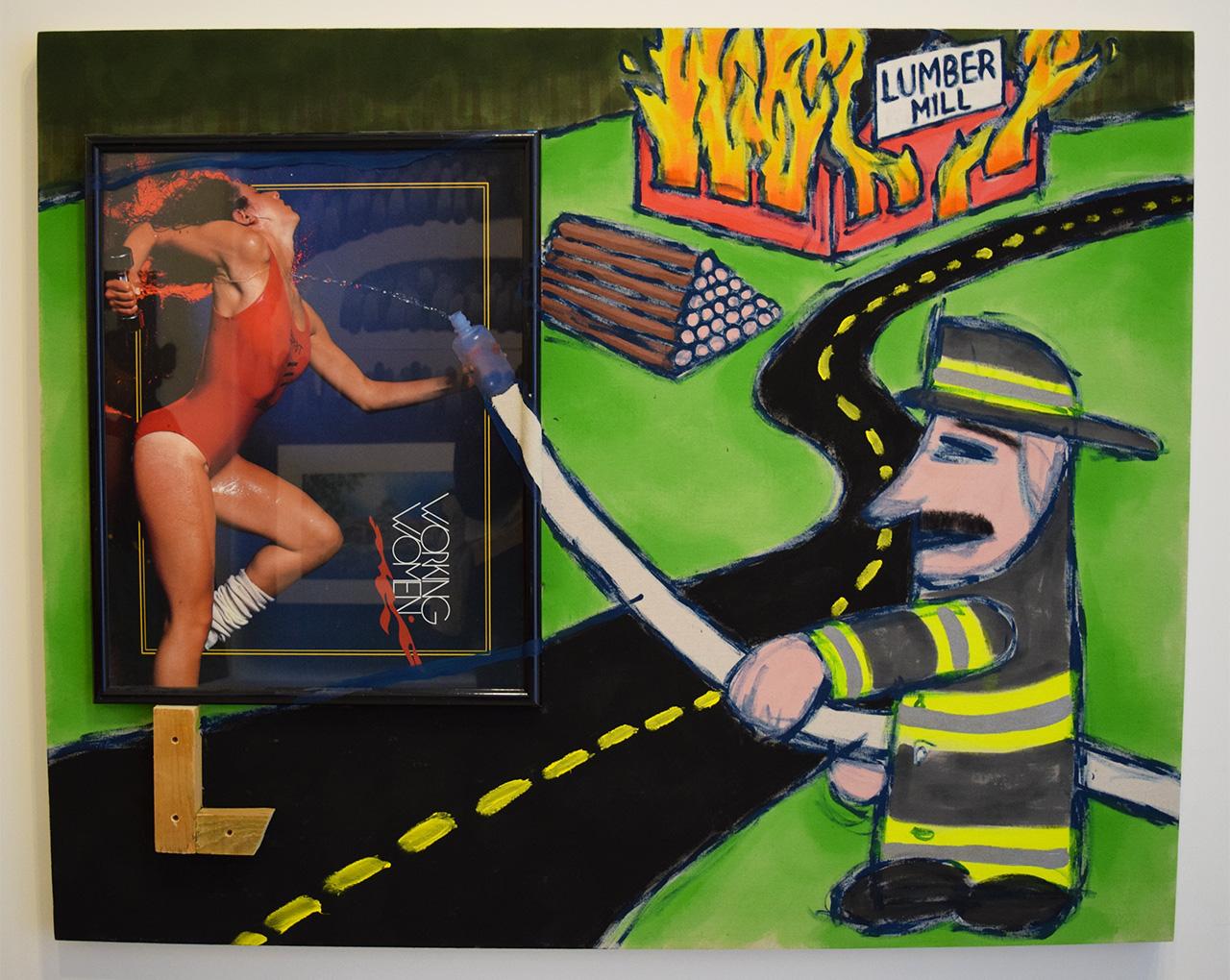 "Joel Kyack, ""Lumber Mill"" (2015) in the Praz-Delavallade booth"
