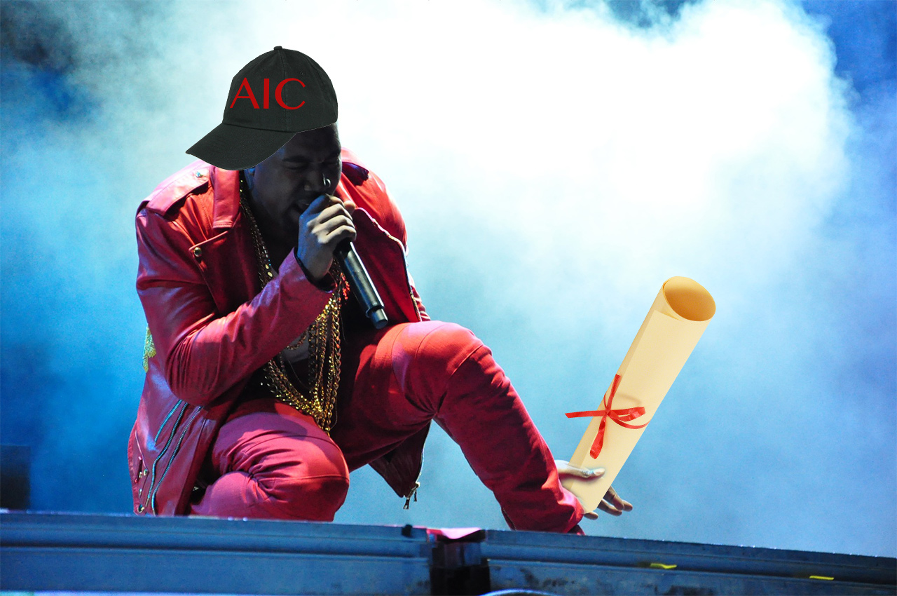 Kanye West accepting his honorary degree from the Art Institute of Chicago (rendering by the author for Hyperallergic)