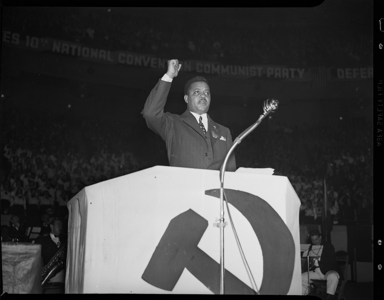 James W. Ford speaking at a Communist Party rally in Madison Square Garden (May 26, 1938) (courtesy New York City Municipal Archives)