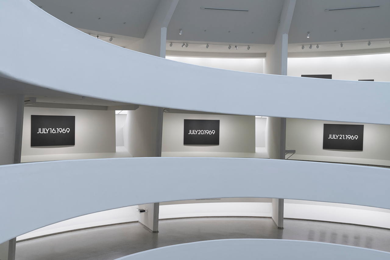 Installation view of 'On Kawara — Silence' at the Solomon R. Guggenheim Museum (photo by David Heald © Solomon R. Guggenheim Foundation)