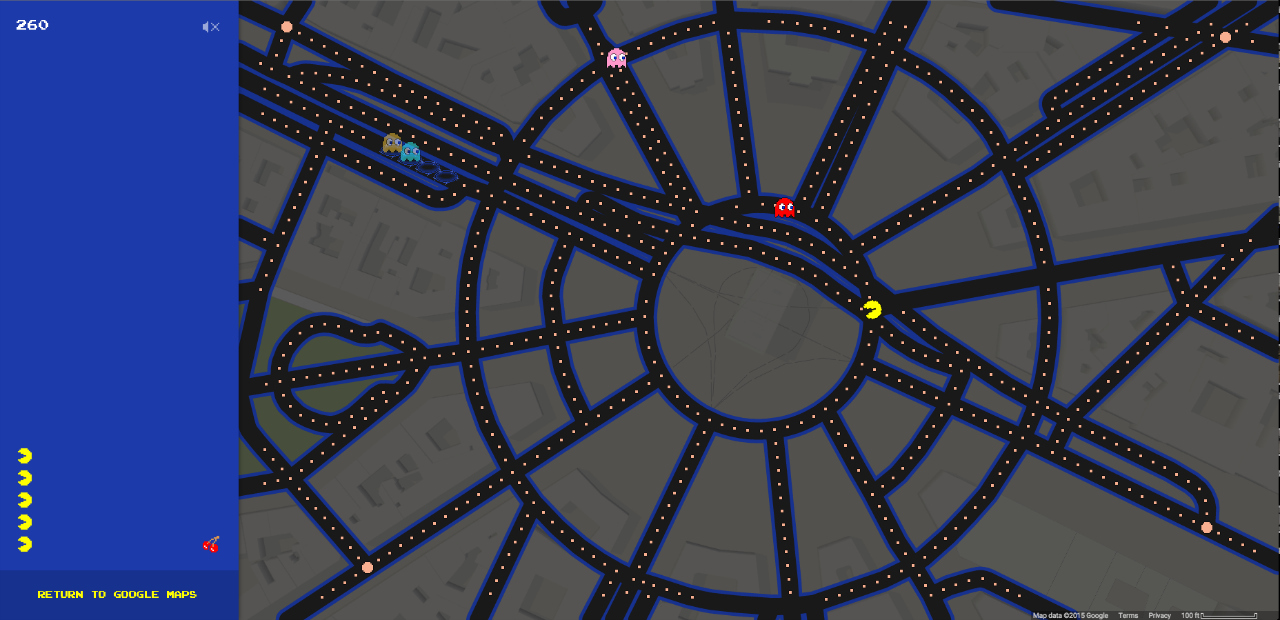 Running from ghosts around the Arc de Triomphe in Paris through the Google Maps Pac-Man function (all screenshots by the author for Hyperallergic)