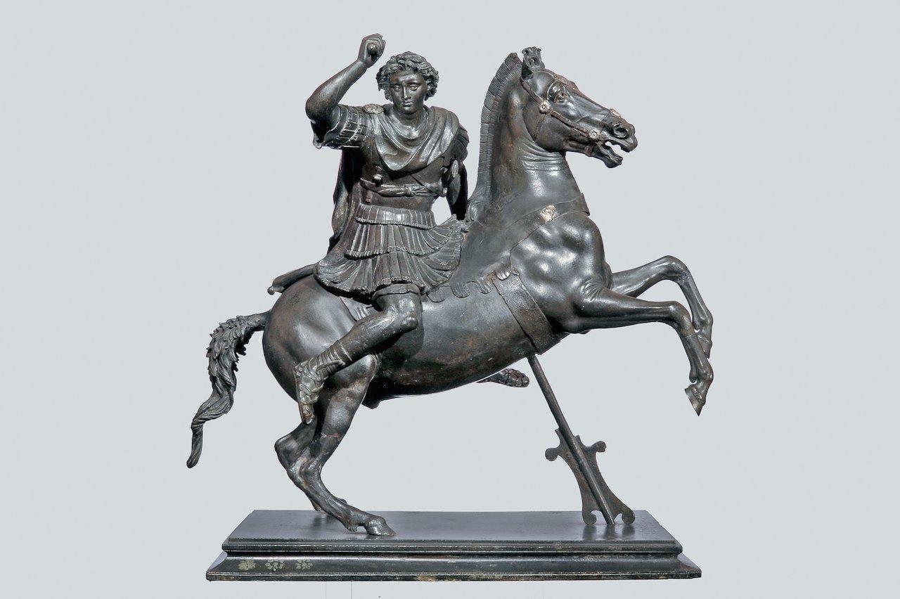 Statuette of Alexander the Great on horseback (1st century BCE-1st century CE), Greek bronze (courtesy Ministero dei Beni e delle Attività Culturali e del Turismo - Soprintendenza per i Beni Archeologici di Napoli, photo by Giorgio Albano)