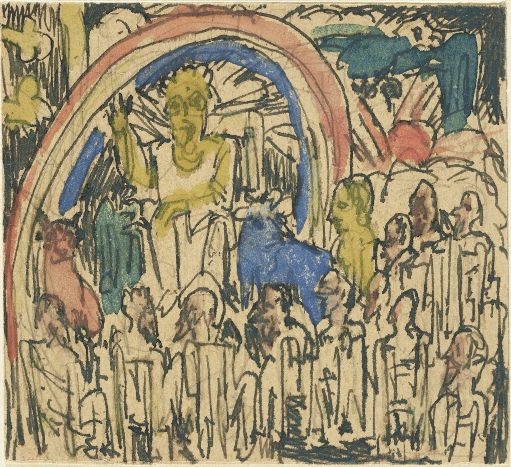Detail of Saint John's Vision of the Seven Candlesticks Ernst Ludwig Kirchner (German, 1880–1938). Pencil, ink, and watercolor on cigarette box. Ernst Ludwig Kirchner Sketchbooks, 1917–1932. The Getty Research Institute, Los Angeles (850463)