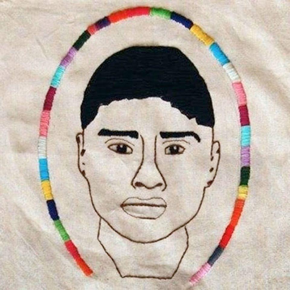 "Paulina, ""Carlos Lorenzo, El Frijolito"" (2014), embroidery"